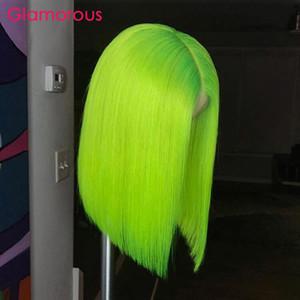 사전 컬러 짧은 인간의 머리 밥 가발 레이스 프런트가 브라질 레미 헤어 스트레이트 네온 그린 컬러 여름 인기 인간의 머리 가발