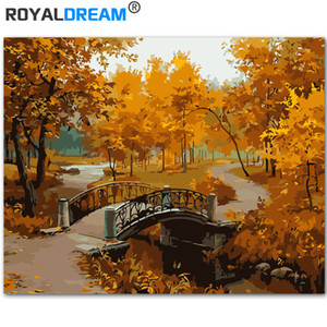 ROYALDREAM Beautiful Late Autumn Landscape DIY Painting By Numbers Kits Coloring Paint By Numbers Modern Wall Art Picture Gift