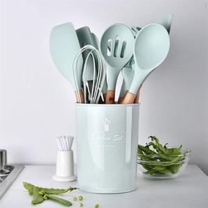 9pcs 12pcs utensílio de cozinha Set Silicone Spaghetti Tong / Alimentos Clip / escova de óleo / Espátula / Batedor de ovo / Container ferramenta da cozinha
