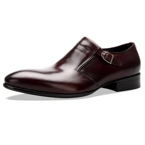 Designer Office Real Leather Derby Shoes Men England Style Pointed Toe Buckle Formal Footwear Casual Party Dress Sapato Social
