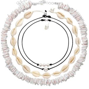 4 Piece Set Shell Necklace Pearl Necklace Set Natural Shell Handmade Shell Pearl Necklace