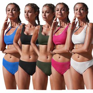 Fashion Women Swimwear Bikini Outfits Bra Vest + Shorts 2 Piece Set Summer Women Swimwear Beachwear Sexy Swimwear Bathing Suits S-XL Hot