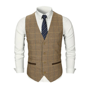 2020 Checked Tweed Vest Men Suit Vest Slim Groom's Wear Wedding Waistcoat Men's Dress Vests Sleeveless Suit Jacket