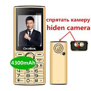 Banco de potencia 4300 mAh abrió el teléfono móvil de 2,4 pulgadas de doble SIM del teléfono móvil de marcación rápida telefone celular linterna MP3 FM de radio retro D1000