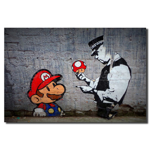 Banksy Super Mario Wall Art Canvas Oil Painting parede retratos para o escritório Sala Home Decor Obra 191002