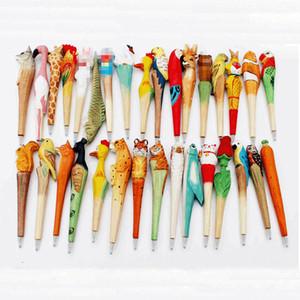 El yapımı Tükenmez Kalem Güzel Yapay Ahşap Oymacılığı Hayvan tükenmez kalem Yaratıcı Sanatlar çocuklara hediye Yeni birçok renk C2038 kalemler
