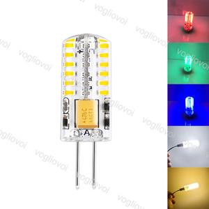 Lâmpadas LED SMD3014 G4 3W DC12V 48led Branco Quente Branco Frio Vermelho Verde Azul Milho Bulb Silicone lâmpadas do candelabro de cristal Início Luz EUB