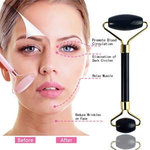 Rouleau Jade visage Thérapie 100% Rouleau Quartz Jade Noir naturel pour double cou guérison Minceur massage visage rides enlèvement