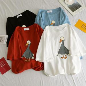 Cute Cartoon anatra Woman Stampa T-shirt a maniche corte Primavera Estate New Style O collo delle donne delle parti superiori allentate casuali magliette donna