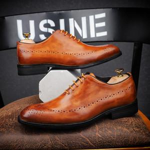 2019 Oxford New Handmade Itália Homens do vintage calça a festa de casamento de couro genuíno Casual Formal Marca Traje Masculino Sapatos