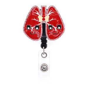 10pcs Medical Series Lungs Themed Retractable Badge Holder RT Pulmonary For Nurse Gift Id Card Name Badge Reels