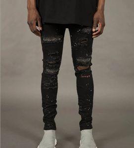 Erkek Erkek Vogue 19ss Biker Jeans Sokak Harajuku Erkek Hip Hop Kaykay Jean pantolon Ripped Jeans