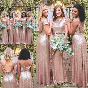 Sparkly Rose Gold Mermaid Abiti da damigella d'onore 2019 Economici New Maniche corte Backless Long Beach Paillettes Maid of Honor Abiti da damigella d'onore