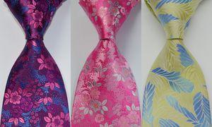 Lazos para los hombres corbata de seda floral de la boda del partido tejida jacquard amarillo rosa púrpura de diseño de moda GZ106925