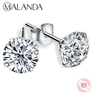 MALANDA Mode Véritable 925 En Argent Sterling Dormeuses Blanc Cristal Zircon Canal Boucles D'oreilles Pour Les Femmes De Mariage Bijoux Cadeau
