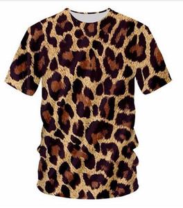 New Fashion Leopard O Neck T-shirt Large Size Leisure 3D Printing Personality Loose Fitness Workout Tee Shirts DX04