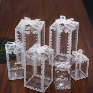 5 / 10pcs scatola torta fiocco bianco trasparente Candy francese Thank You favori di nozze Gift Box Package compleanno sacchetti del partito di favore di imballaggio