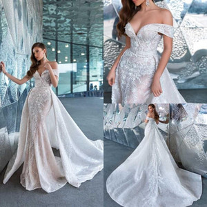 Crystal Design 2020 Vestidos de novia de sirena con tren desmontable Sweep Train Plus Size Off Shoulder Beach Vestidos de novia Country Brides Dress