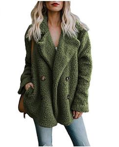 Kadın ceketler Peluş Katı Renk Ceket düğmeleri Yaka Cep Tasarımcı Palto Kadın Coats Aşağı çevirin