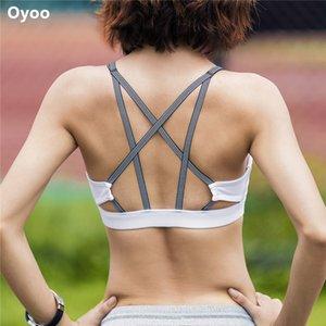 Oyoo Correa ajustable Sujetadores de running Sujetador de yoga de gimnasio de alto impacto 2017 Mujeres Sport Top Athletic Vest Strappy back Sujetador deportivo
