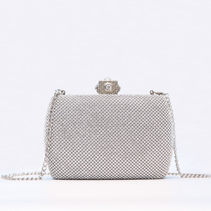 Heavy Industry Beaded Evening Bag Dress Bride Hand Bag with Diamond Pearl Petal Chain One Shoulder Party Bag
