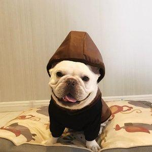 Perros con capucha chaquetas de cuero de invierno de una sola pieza espesan los Animales Chalecos Abrigos de moda de la calle Ocio Ourdoor de perrito perro al por mayor de prendas de vestir