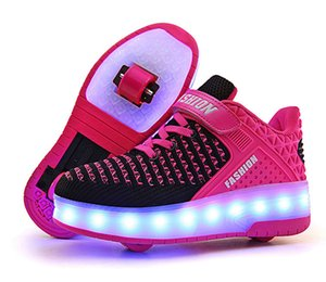 LED USB Charging Roller Skate Shoes with Wheel Shoes Light up Roller Shoes Rechargeable Roller Sneakers for Girls Boys Children