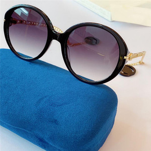 Neue Art und Weise Scharnier-Design-Sonnenbrille 0726 retro runden Rahmen Ohrringe Sommer Stil hochwertige uv400 Schutzbrille