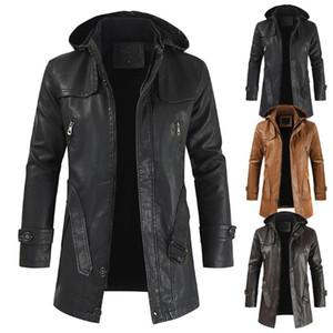 Veste en cuir pour hommes 2020 Mode Homme à capuche Chaudède PU Cuir Vestes Casual Moto Couper-vent Broteau Vêtements d'extérieur Homme