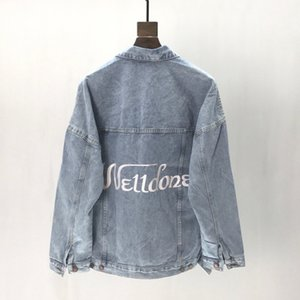 Womens Tasarımcı ceketler WE11DONE 3M Yansıtıcı Baskı Moda High Street Motosiklet High Street Casual Mavi Dış Giyim S-XL