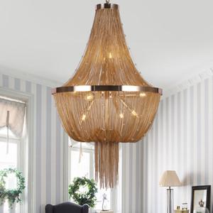 New Arrival Contemporary S Gold Silver Bronze Chandelier Light Italian Tassel Aluminum Chain Pendant Light for Living room Foyer Home Decor