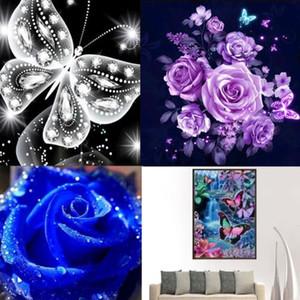 1PCS DIY 5D 다이아몬드 회화 꽃 나비 자수 크로스 공예 스티치 장식 장식 다이아몬드 회화