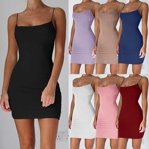 candy New Fashion Women Dress Spaghetti Strap Sleeveless Solid Color Mini Dress Summer Casual Cotton Dress Bodycon Dresses