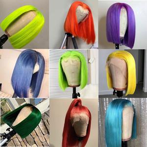 Rosa Bob Lace Front Wigs Humano cabelo 13x4 pré arrancado 613 Loira Azul Vermelho Vermelho Cinzento Verde Ombre Curta Bob Perucas para mulheres negras REM