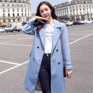 Женщины женские пальто 2021 ветровка женская корейская версия длинного свободного британского стиля кружев на талии темперамент мода пальто осенью