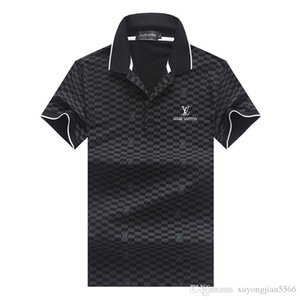 mens venda quente nova moda camiseta verão curto de alta qualidade de algodão camisas pólo designers famosos marca Slim Fit camisa t homens M-3XL P417