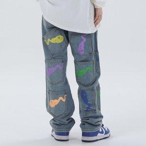 Смешные Printed Multi-карман вскользь мешковатые джинсы Denim Hip Hop Hipster Брюки Мужчины Уличная мода Брюки Мужской синий