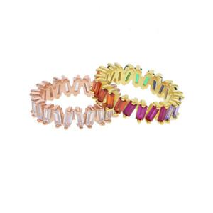 US taille 5 6 7 8 9 925 baguette en argent sterling zircon cubique cz bague de fiançailles arc en ciel zircone S925 bijoux