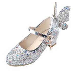 Ulknn الطفل الأميرة الفتيات الأحذية الصنادل للأطفال بريق فراشة منخفضة الكعب الأطفال أحذية الفتيات حزب الشقي meisjes schoenen J190508