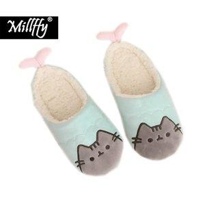 Millffy New Automne et hiver dessin animé mignon Mermaid biscuit chat pantoufles de coton en peluche ménage chaussures de coton de plancher femme