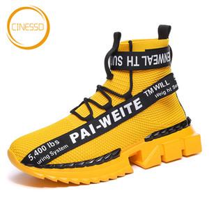 CINESSD neue Art-Socken-Laufschuhe Hoch-Spitze starke untere Chunky Turnschuhe Männer Breath Fliegen Woven Licht Jogging Sportschuhe