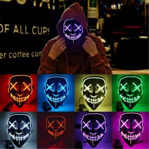 Новое Руководство Led люминесценция маска Halloween Grimace взрослых флуоресценция Бал Маска 2019 Новое прибытие Смешные маски