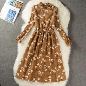 2019 весна осень моды Mid-Long Cozy вельвет платье Vintage Print Dress Student Сладкие Женское делопроизводство Плюс размера 117