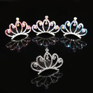 Children Hair Jewelry Baby Girls Rhinestone Tiara Headdress Crystal Princess Crown Combs Headwear Hair Accessories For Birthday Party