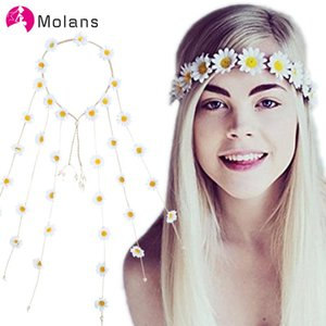 Molans Novelty Floral Fall Sunflower Crowns Hair Wreath Bridal Headpiece Festivals Feather Headbands Party Wedding Garlands