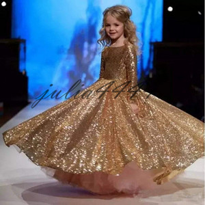 Gold Sequined Little Girls Pageant Desses 2019 Jewel Neck Custom Made Long Sleeve Sparkling Kids Formal Wear Wedding Flower Girl Dresses