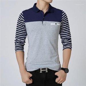 Artı boyutu Mens Polos Casual Erkek Giyim Çizgili Kasetli Erkek Tasarımcı Polos Moda Düğmeler Kasetli Uzun Kollu
