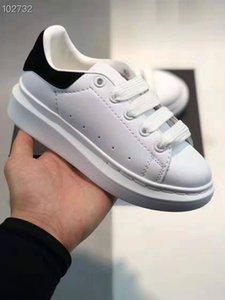 niños de diseño de lujo zapatillas de deporte barato mejor manera de calidad superior zapatos blancos de la plataforma del cuero zapatos del partido plano ocasional con la caja