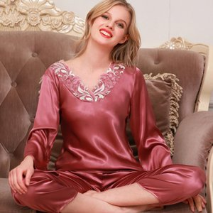 Autumn Women Ladies Sexy Flower Lace Satin Silk Pajamas Sets Long Sleeve Tops+Pants Sleepwear mujer Nightwear pyjama femme