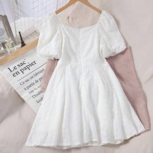 LY VAREY LIN New Summer Solid Embroidery Hollow Out Slim Dress A Line Short sleeve High Waist Women Dress